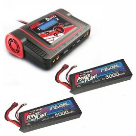 Chargeur DUPLEX duo + 2 LiPo 2S 5000 mah 45C Peak Racing