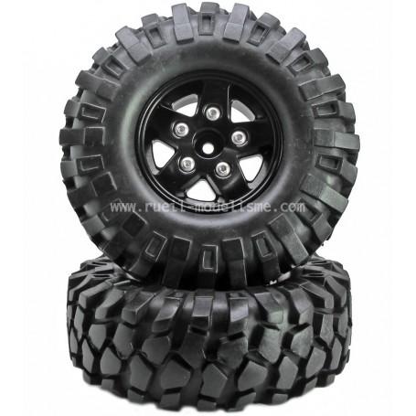 Jantes lourdes beadlock 1.9 + pneus D90 80213BK Topcad