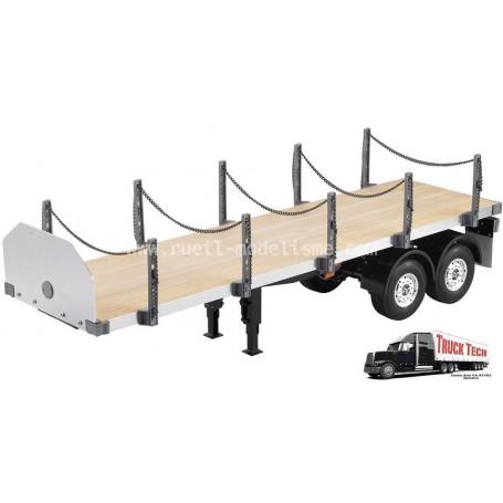 Remorque flatbed 2 essieux 1/14e 140406 Truck tech