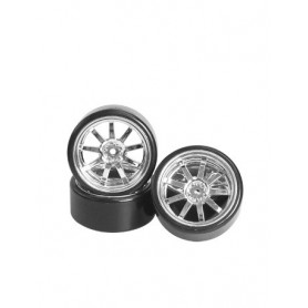Pneus drift sparking + jantes chromées WH-25/SI 3racing